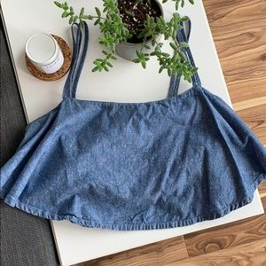 GUESS | denim chambray crop top flowy size small